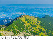Купить «The view from the highest mountain in the town in the valley, the mountain Kasprowy Wierch in Poland», фото № 28703983, снято 19 августа 2017 г. (c) Константин Лабунский / Фотобанк Лори