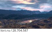 Купить «Чужая планета. Скалы и озеро. Анимация. Панорама. 4К», видеоролик № 28704587, снято 8 июля 2018 г. (c) Parmenov Pavel / Фотобанк Лори