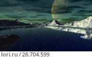 Купить «Чужая планета. Скалы и озеро. Анимация. Панорама. 4К», видеоролик № 28704599, снято 8 июля 2018 г. (c) Parmenov Pavel / Фотобанк Лори