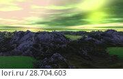 Купить «Чужая планета. Скалы и озеро. Анимация. Панорама. 4К», видеоролик № 28704603, снято 8 июля 2018 г. (c) Parmenov Pavel / Фотобанк Лори