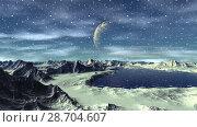 Купить «Чужая планета. Скалы и озеро. Анимация. Панорама. 4К», видеоролик № 28704607, снято 8 июля 2018 г. (c) Parmenov Pavel / Фотобанк Лори