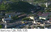 Купить «Вечерний вид сверху на Петропавловск-Камчатский», видеоролик № 28705135, снято 8 июля 2018 г. (c) А. А. Пирагис / Фотобанк Лори