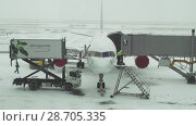 Купить «Service of the aircraft preparation for flight at a snowy aerodrome of Astana International Airport stock footage video», видеоролик № 28705335, снято 30 марта 2018 г. (c) Юлия Машкова / Фотобанк Лори