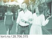 Купить «Angry female is jealousying because her boyfriend is staring on», фото № 28706315, снято 18 октября 2017 г. (c) Яков Филимонов / Фотобанк Лори