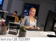 Купить «designer working on computer at night office», фото № 28723891, снято 26 ноября 2017 г. (c) Syda Productions / Фотобанк Лори