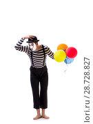 Купить «Mime with balloons isolated on white background», фото № 28728827, снято 24 августа 2017 г. (c) Elnur / Фотобанк Лори