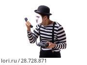 Купить «Mime with telephone isolated on white background», фото № 28728871, снято 24 августа 2017 г. (c) Elnur / Фотобанк Лори