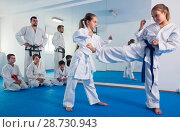 Купить «Young children are trying in sparring to use new moves», фото № 28730943, снято 25 марта 2017 г. (c) Яков Филимонов / Фотобанк Лори