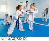 Купить «Pair of little girls practicing new karate moves during class», фото № 28730951, снято 25 марта 2017 г. (c) Яков Филимонов / Фотобанк Лори