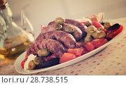 Купить «Grilled sausages and vegetables», фото № 28738515, снято 21 сентября 2018 г. (c) Яков Филимонов / Фотобанк Лори
