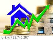 Купить «График роста и символ недвижимости на фоне денег», фото № 28746287, снято 18 февраля 2019 г. (c) Сергеев Валерий / Фотобанк Лори