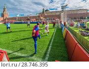 Купить «Мини-футбольные мачт между любителями в парке футбола на Красной площади в Москве во время Чемпионата мира по футболу FIFA 2018, Россия», эксклюзивное фото № 28746395, снято 7 июля 2018 г. (c) Виктор Тараканов / Фотобанк Лори