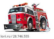 Купить «Vector cartoon firetruck», иллюстрация № 28746555 (c) Александр Володин / Фотобанк Лори