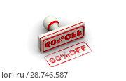 Купить «60 percentage off. The stamp leaves a imprint», видеоролик № 28746587, снято 21 апреля 2018 г. (c) WalDeMarus / Фотобанк Лори