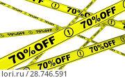 Купить «Seventy percentage off. Discount 70 %. Yellow warning tapes in motion», видеоролик № 28746591, снято 31 марта 2018 г. (c) WalDeMarus / Фотобанк Лори