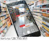 Augmented reality marketing application concept. Mobile smart phone check relevant information about product in the supermarket. Стоковое фото, фотограф Maksym Yemelyanov / Фотобанк Лори