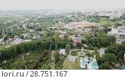 Купить «Panoramic aerial view historical part of the Vladimir with Klyazma, Russia», видеоролик № 28751167, снято 29 июня 2018 г. (c) Яков Филимонов / Фотобанк Лори