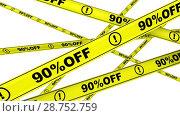 Купить «Ninety percentage off. Discount of 90 %. Yellow warning tapes in motion», видеоролик № 28752759, снято 2 апреля 2018 г. (c) WalDeMarus / Фотобанк Лори