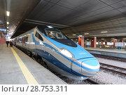 Купить «High-speed intercity train on the platform of the train station in Krakow», фото № 28753311, снято 3 января 2015 г. (c) Наталья Волкова / Фотобанк Лори