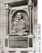 Купить «Shakespeare's Monument affixed to the north wall of the chancel of Stratford-on-Avon, England. William Shakespeare, 1564 (baptised)-1616. English poet...», фото № 28756887, снято 17 июля 2018 г. (c) age Fotostock / Фотобанк Лори