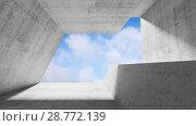 Купить «Concrete interior with blue cloudy sky», иллюстрация № 28772139 (c) EugeneSergeev / Фотобанк Лори