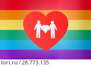 Купить «male couple pictogram on red heart over rainbow», фото № 28773135, снято 14 ноября 2017 г. (c) Syda Productions / Фотобанк Лори