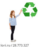 Купить «girl with marker pointing to green recycle symbol», фото № 28773327, снято 31 июля 2013 г. (c) Syda Productions / Фотобанк Лори