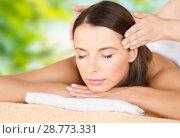 Купить «close up of beautiful woman having head massage», фото № 28773331, снято 25 июля 2013 г. (c) Syda Productions / Фотобанк Лори