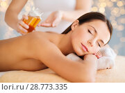 Купить «close up of beautiful woman having massage at spa», фото № 28773335, снято 25 июля 2013 г. (c) Syda Productions / Фотобанк Лори