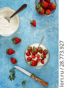 Купить «Organic yogurt in a bowl with freshly cut strawberries on a blue coOrganic yogurt in a bowl with freshly cut strawberries on a blue concrete background. Top view and close-up. Flatlay», фото № 28773927, снято 13 мая 2018 г. (c) Tetiana Chugunova / Фотобанк Лори