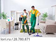 Купить «Cleaning professional contractors working at house», фото № 28780871, снято 5 апреля 2018 г. (c) Elnur / Фотобанк Лори