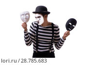 Купить «Mime with masks isolated on white background», фото № 28785683, снято 24 августа 2017 г. (c) Elnur / Фотобанк Лори