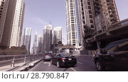 Journey on the roads among the skyscrapers of the fashionable district Dubai Marina stock footage video (2018 год). Редакционное видео, видеограф Юлия Машкова / Фотобанк Лори