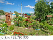 Красивый ландшафтный дизайн в центре города Мосальска, Калужская область. Стоковое фото, фотограф Елена Коромыслова / Фотобанк Лори