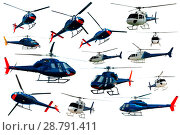 Купить «Collection of helicopters isolated», фото № 28791411, снято 25 октября 2017 г. (c) Яков Филимонов / Фотобанк Лори