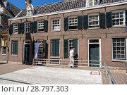 Купить «Рабочие моют и чистят окна на фасаде дома в Амстердаме», фото № 28797303, снято 2 июля 2018 г. (c) V.Ivantsov / Фотобанк Лори