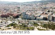Купить «Aerial view of landscape of Mataro in the Spain.», видеоролик № 28797915, снято 11 июня 2018 г. (c) Яков Филимонов / Фотобанк Лори