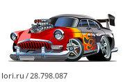 Купить «Cartoon retro hot rod», иллюстрация № 28798087 (c) Александр Володин / Фотобанк Лори