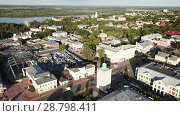 Купить «Panoramic aerial view of center of Murom city with water tower, Russia», видеоролик № 28798411, снято 15 июня 2018 г. (c) Яков Филимонов / Фотобанк Лори