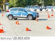 Купить «Russia, Samara, September 2017: the driver on the new car passes the driving test for driving the car.», фото № 28803659, снято 16 сентября 2017 г. (c) Акиньшин Владимир / Фотобанк Лори