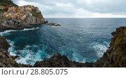 Купить «Summer Manarola village coast, Cinque Terre.», фото № 28805075, снято 25 июня 2017 г. (c) Юрий Брыкайло / Фотобанк Лори