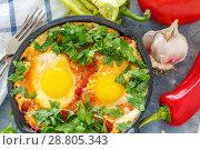 Купить «Shakshuka in a cast iron pan closeup», фото № 28805343, снято 5 июня 2018 г. (c) Марина Сапрунова / Фотобанк Лори