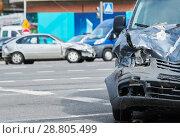 Купить «car crash accident on street, damaged automobiles after collision in city», фото № 28805499, снято 5 апреля 2018 г. (c) Дмитрий Калиновский / Фотобанк Лори