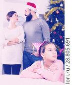 Купить «Parents lecturing daughter at Christmas», фото № 28805691, снято 29 февраля 2020 г. (c) Яков Филимонов / Фотобанк Лори