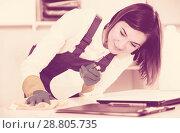 Купить «Female cleaner at work», фото № 28805735, снято 21 февраля 2019 г. (c) Яков Филимонов / Фотобанк Лори