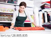 Купить «Seller measuring cloth», фото № 28805835, снято 4 января 2017 г. (c) Яков Филимонов / Фотобанк Лори