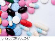 Купить «Multicolored medicaments, top view.», фото № 28806247, снято 7 августа 2017 г. (c) Pavel Biryukov / Фотобанк Лори