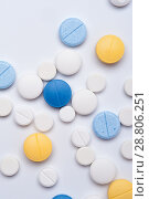 Купить «Different medical pills on white background.», фото № 28806251, снято 7 августа 2017 г. (c) Pavel Biryukov / Фотобанк Лори