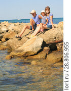 Купить «Three children on the beach», фото № 28806955, снято 5 июля 2018 г. (c) Типляшина Евгения / Фотобанк Лори