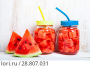 Refreshing ice cold water with watermelon. Стоковое фото, фотограф Елена Блохина / Фотобанк Лори
